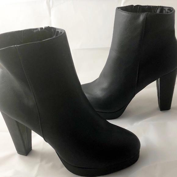 Women Swirl-01 Chunky Heel Platform Booties Side Zipper Shoes